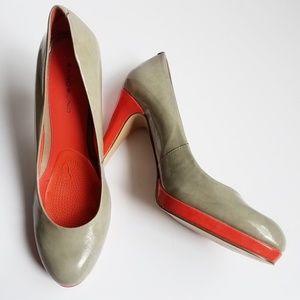 Bandolino Gray and Coral Heels